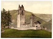 Antique photograph of San Gian in Celerina Switzerland.